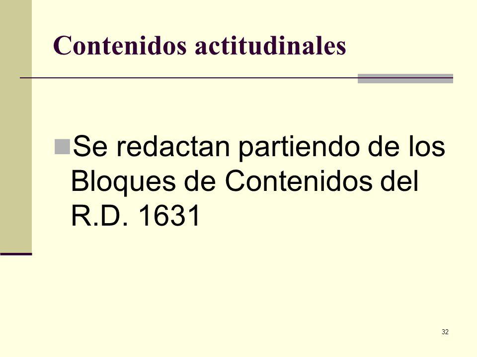 32 Contenidos actitudinales Se redactan partiendo de los Bloques de Contenidos del R.D. 1631