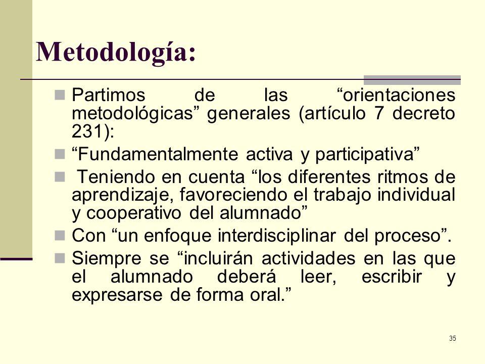 35 Metodología: Partimos de las orientaciones metodológicas generales (artículo 7 decreto 231): Fundamentalmente activa y participativa Teniendo en cu