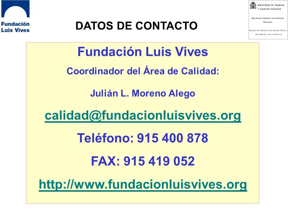 PROYECTO TQM-ONG DATOS DE CONTACTO Fundación Luis Vives Coordinador del Área de Calidad: Julián L.