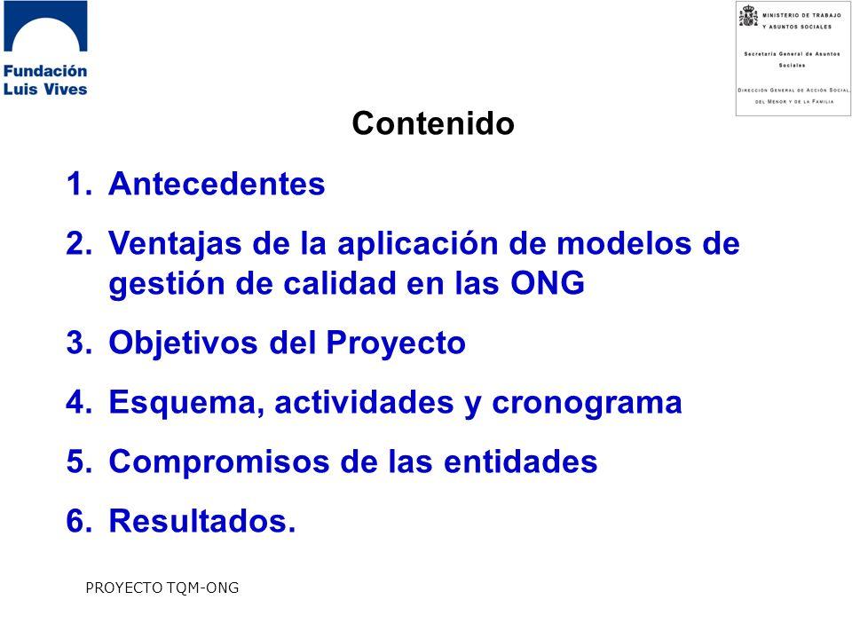 PROYECTO TQM-ONG Contenido 1.Antecedentes 2.Ventajas de la aplicación de modelos de gestión de calidad en las ONG 3.Objetivos del Proyecto 4.Esquema, actividades y cronograma 5.Compromisos de las entidades 6.Resultados.