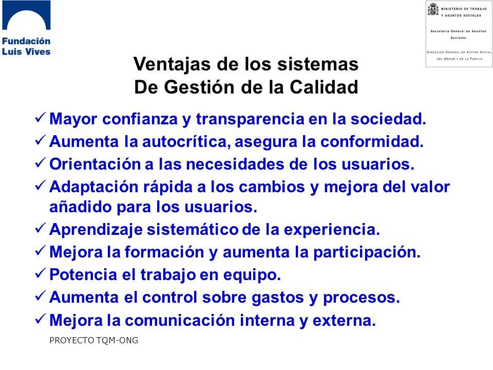 PROYECTO TQM-ONG Ventajas de los sistemas De Gestión de la Calidad Mayor confianza y transparencia en la sociedad.