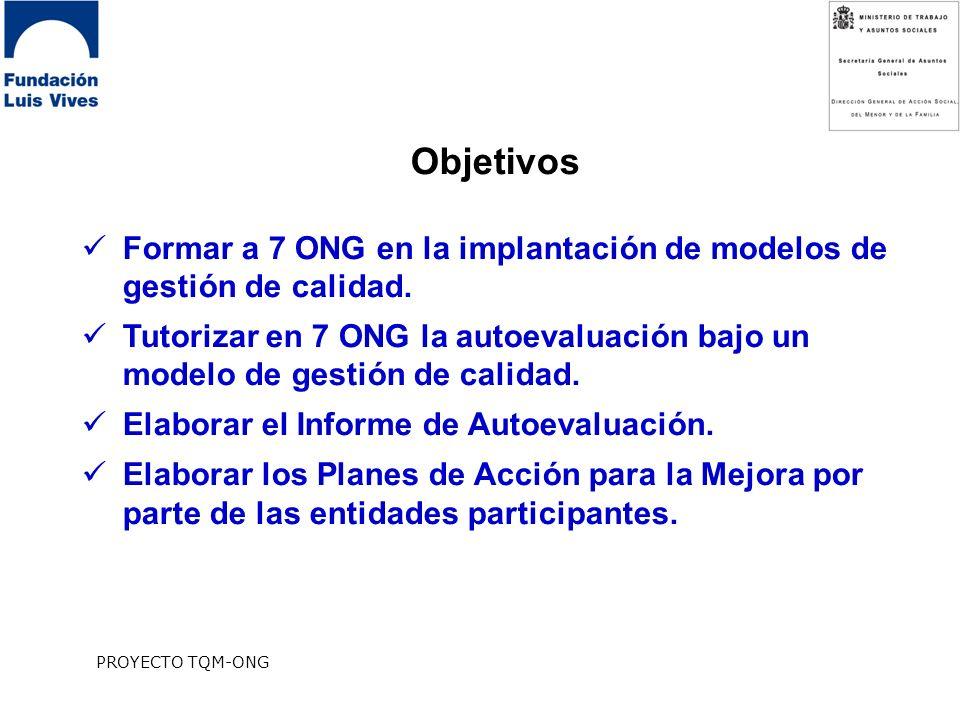 PROYECTO TQM-ONG Objetivos Formar a 7 ONG en la implantación de modelos de gestión de calidad.