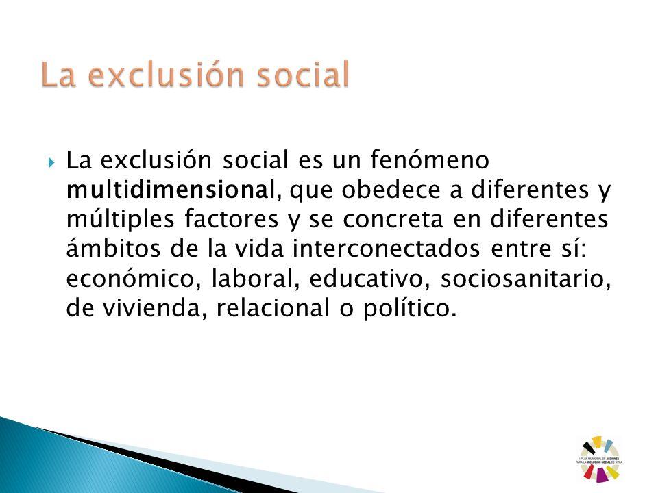 La exclusión social es un fenómeno multidimensional, que obedece a diferentes y múltiples factores y se concreta en diferentes ámbitos de la vida inte