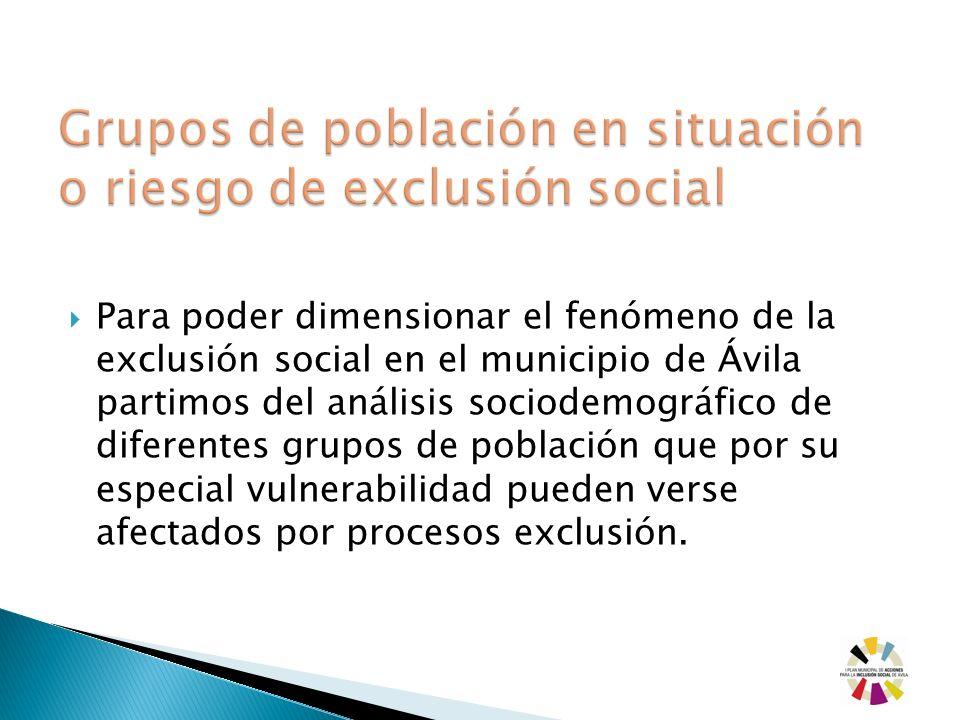 Para poder dimensionar el fenómeno de la exclusión social en el municipio de Ávila partimos del análisis sociodemográfico de diferentes grupos de pobl