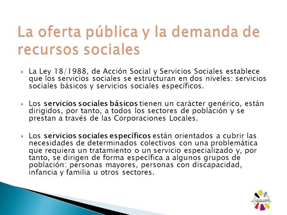 La Ley 18/1988, de Acción Social y Servicios Sociales establece que los servicios sociales se estructuran en dos niveles: servicios sociales básicos y