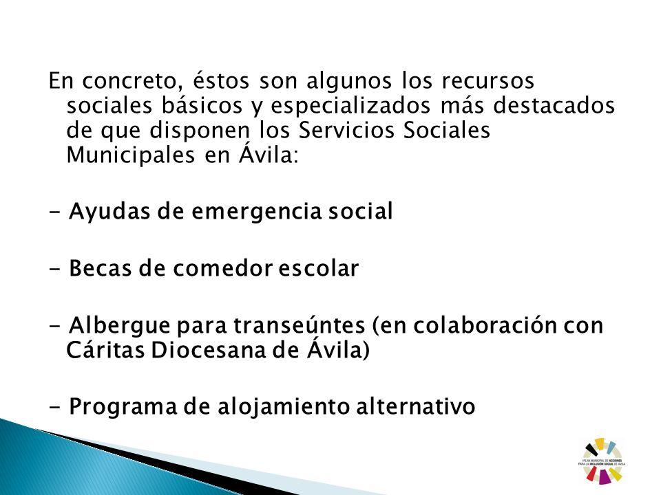 En concreto, éstos son algunos los recursos sociales básicos y especializados más destacados de que disponen los Servicios Sociales Municipales en Ávi