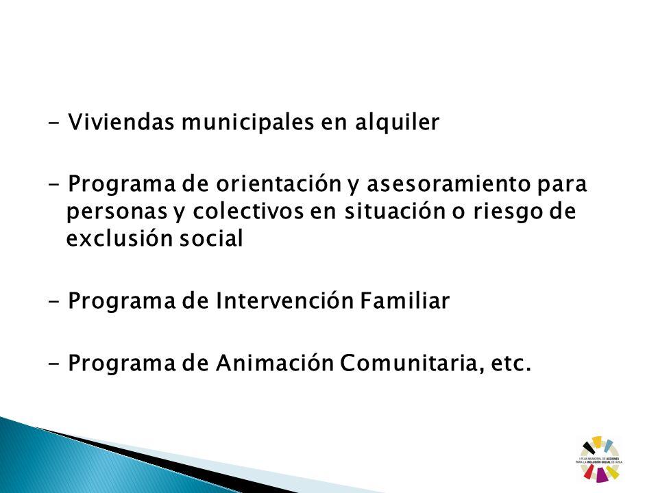 - Viviendas municipales en alquiler - Programa de orientación y asesoramiento para personas y colectivos en situación o riesgo de exclusión social - P