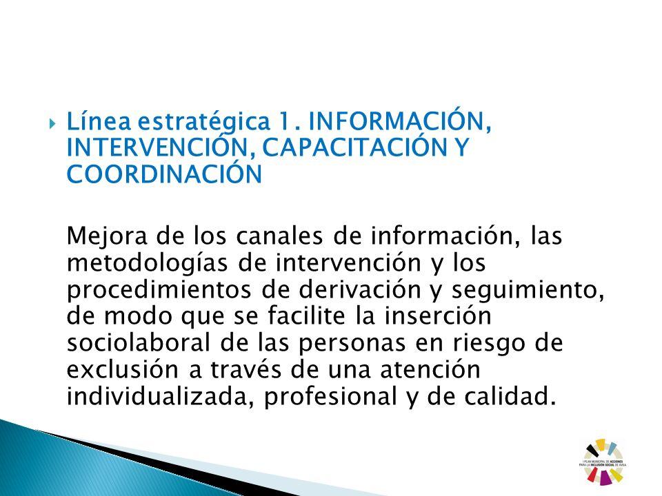 Línea estratégica 1. INFORMACIÓN, INTERVENCIÓN, CAPACITACIÓN Y COORDINACIÓN Mejora de los canales de información, las metodologías de intervención y l