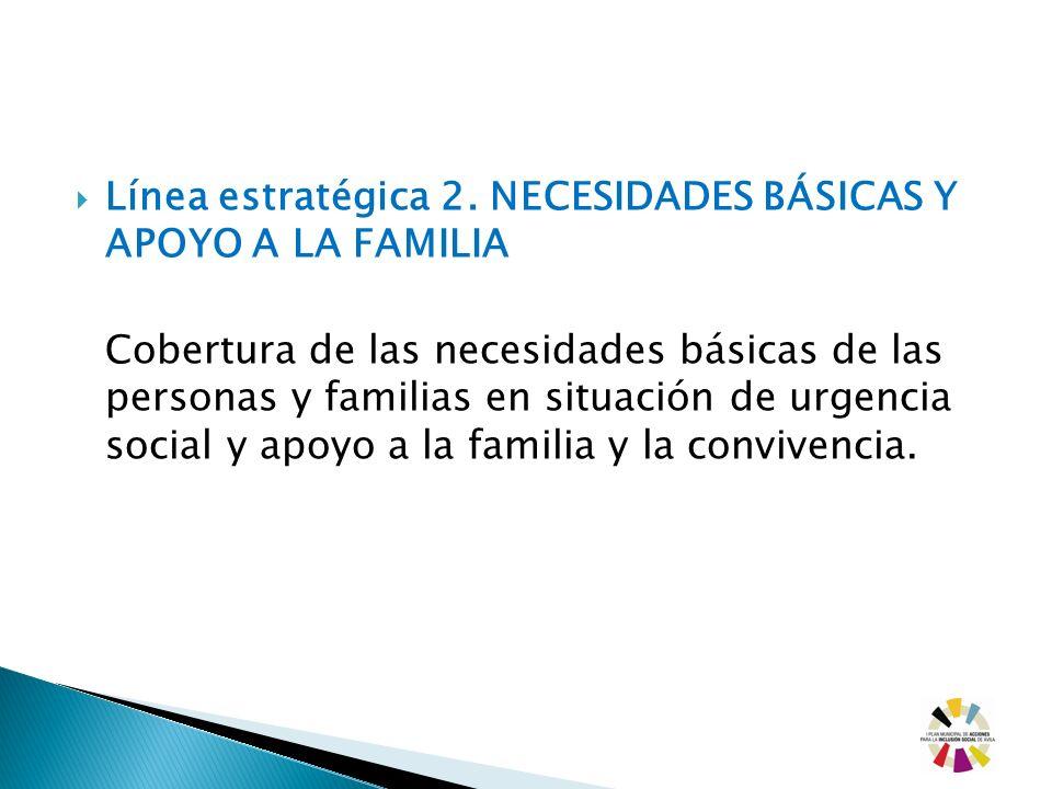 Línea estratégica 2. NECESIDADES BÁSICAS Y APOYO A LA FAMILIA Cobertura de las necesidades básicas de las personas y familias en situación de urgencia