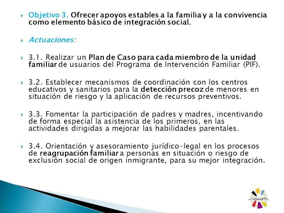 Objetivo 3. Ofrecer apoyos estables a la familia y a la convivencia como elemento básico de integración social. Actuaciones: 3.1. Realizar un Plan de