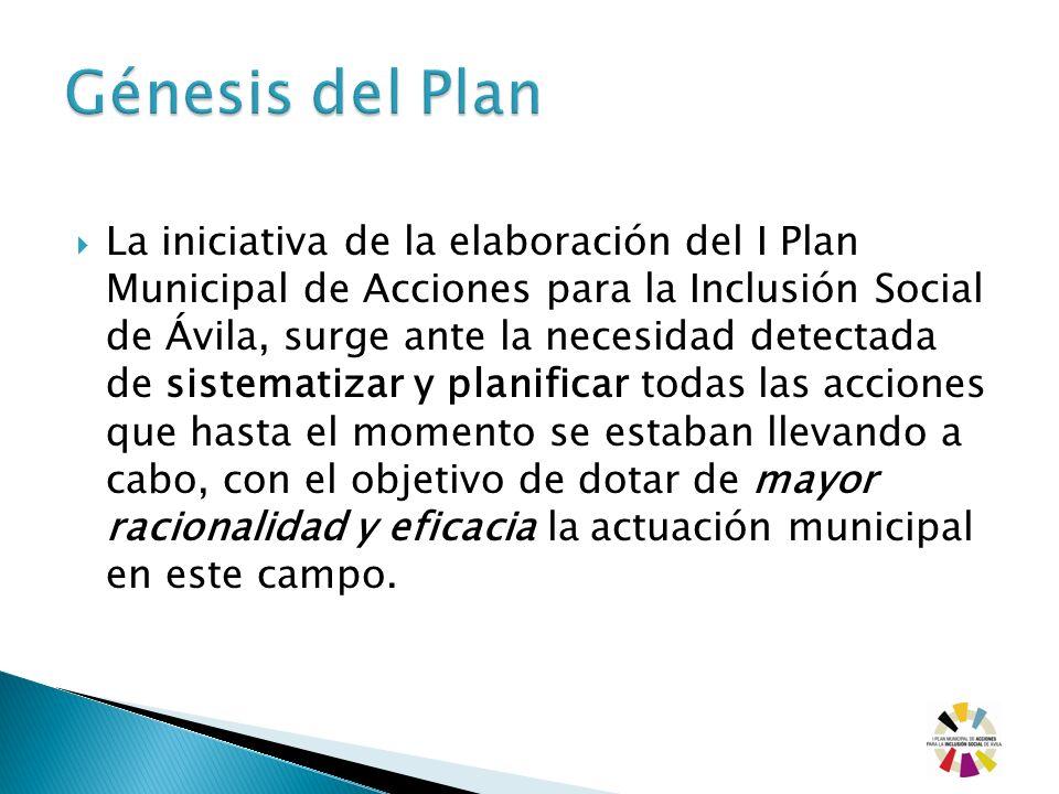 La iniciativa de la elaboración del I Plan Municipal de Acciones para la Inclusión Social de Ávila, surge ante la necesidad detectada de sistematizar