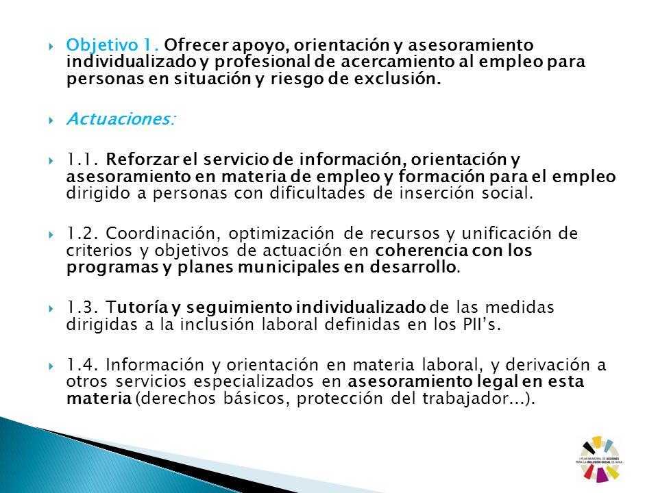Objetivo 1. Ofrecer apoyo, orientación y asesoramiento individualizado y profesional de acercamiento al empleo para personas en situación y riesgo de