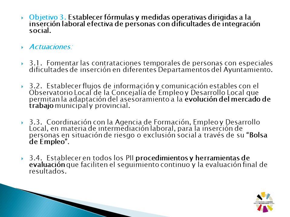 Objetivo 3. Establecer fórmulas y medidas operativas dirigidas a la inserción laboral efectiva de personas con dificultades de integración social. Act