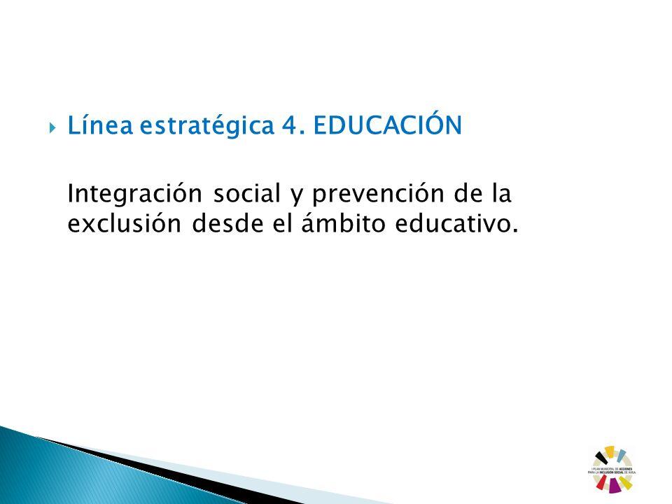Línea estratégica 4. EDUCACIÓN Integración social y prevención de la exclusión desde el ámbito educativo.