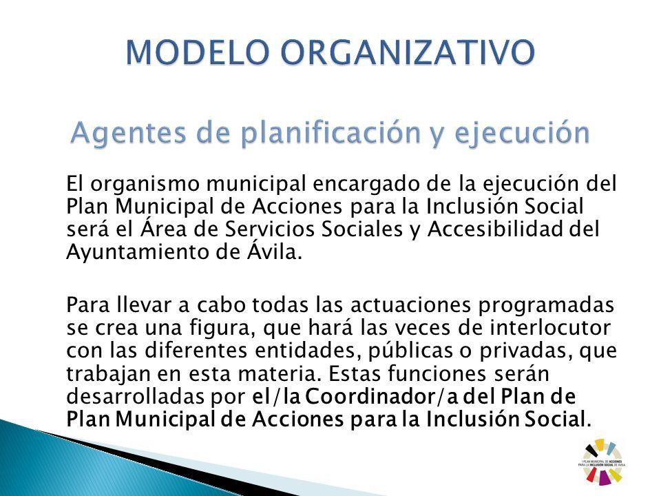 El organismo municipal encargado de la ejecución del Plan Municipal de Acciones para la Inclusión Social será el Área de Servicios Sociales y Accesibi