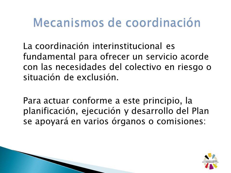 La coordinación interinstitucional es fundamental para ofrecer un servicio acorde con las necesidades del colectivo en riesgo o situación de exclusión