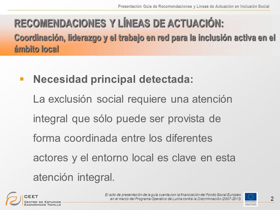 Presentación Guía de Recomendaciones y Líneas de Actuación en Inclusión Social El acto de presentación de la guía cuenta con la financiación del Fondo Social Europeo en el marco del Programa Operativo de Lucha contra la Discriminación (2007-2013) 3 Dificultades: Complejidad de conceptos exclusión/inclusión Variedad de actores implicados, con diferente poder.