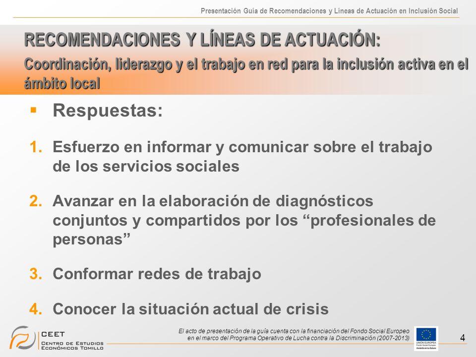Presentación Guía de Recomendaciones y Líneas de Actuación en Inclusión Social El acto de presentación de la guía cuenta con la financiación del Fondo Social Europeo en el marco del Programa Operativo de Lucha contra la Discriminación (2007-2013) 4 Respuestas: 1.Esfuerzo en informar y comunicar sobre el trabajo de los servicios sociales 2.Avanzar en la elaboración de diagnósticos conjuntos y compartidos por los profesionales de personas 3.Conformar redes de trabajo 4.Conocer la situación actual de crisis RECOMENDACIONES Y LÍNEAS DE ACTUACIÓN: Coordinación, liderazgo y el trabajo en red para la inclusión activa en el ámbito local