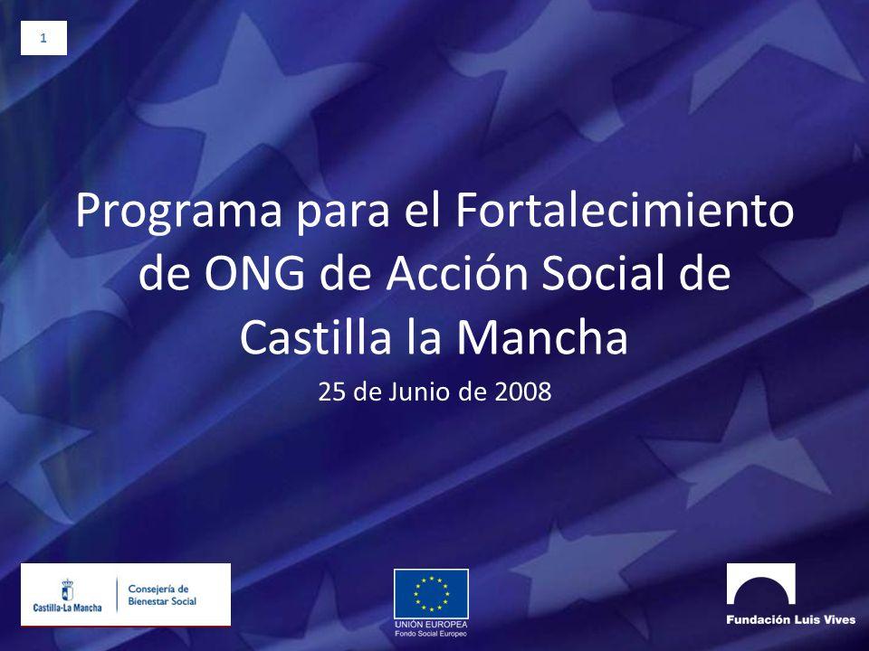 1 Programa para el Fortalecimiento de ONG de Acción Social de Castilla la Mancha 25 de Junio de 2008