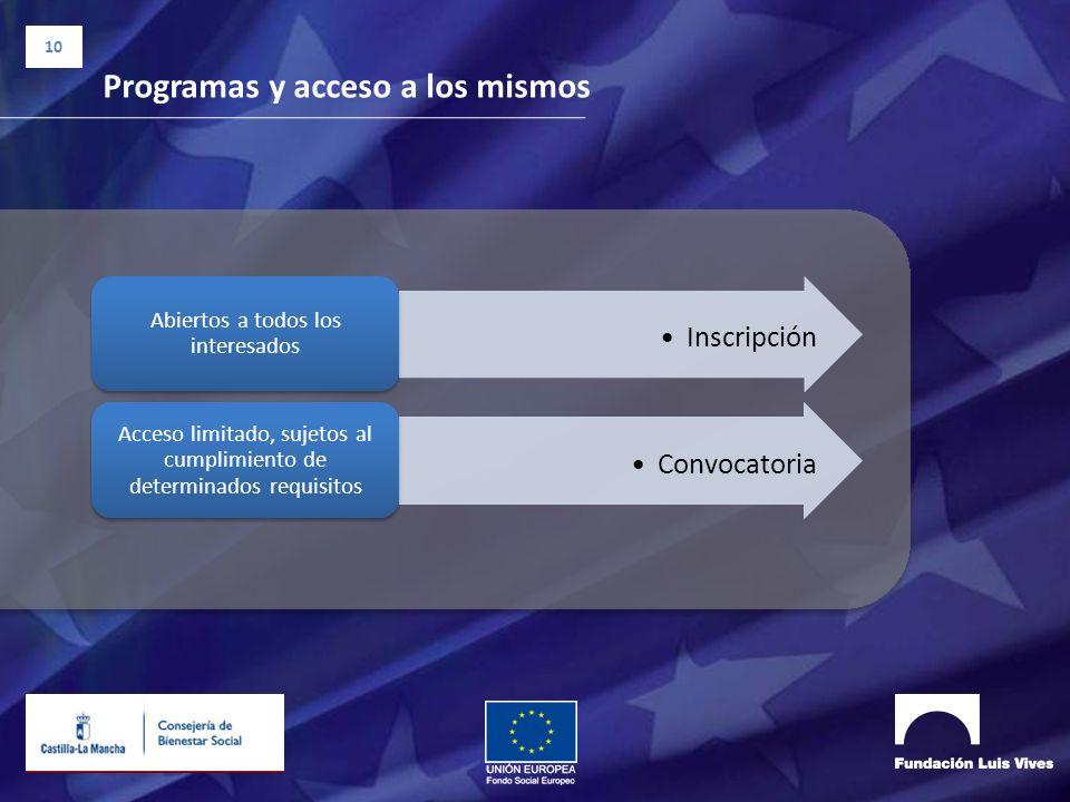 10 Programas y acceso a los mismos Inscripción Abiertos a todos los interesados Convocatoria Acceso limitado, sujetos al cumplimiento de determinados