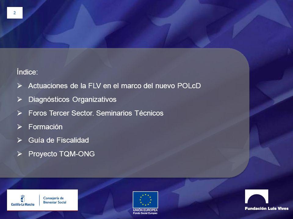 2 Índice: Actuaciones de la FLV en el marco del nuevo POLcD Diagnósticos Organizativos Foros Tercer Sector. Seminarios Técnicos Formación Guía de Fisc