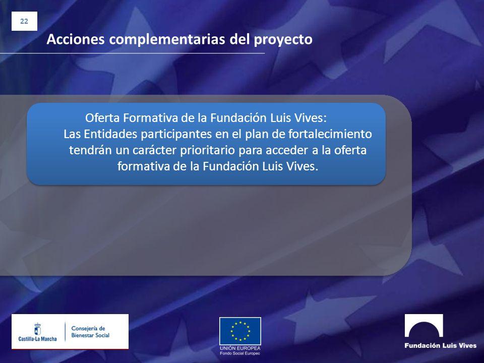 22 Acciones complementarias del proyecto Oferta Formativa de la Fundación Luis Vives: Las Entidades participantes en el plan de fortalecimiento tendrá