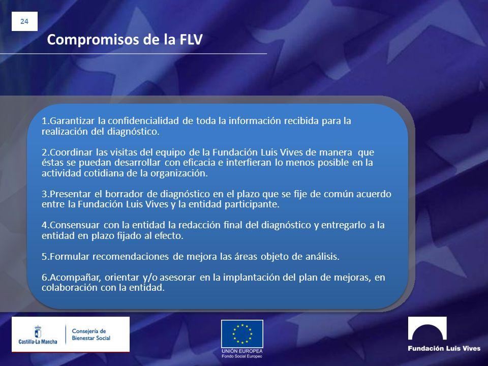 24 Compromisos de la FLV 1.Garantizar la confidencialidad de toda la información recibida para la realización del diagnóstico. 2.Coordinar las visitas