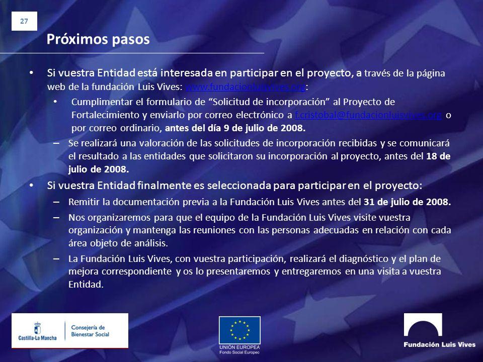 27 Próximos pasos Si vuestra Entidad está interesada en participar en el proyecto, a través de la página web de la fundación Luis Vives: www.fundacion