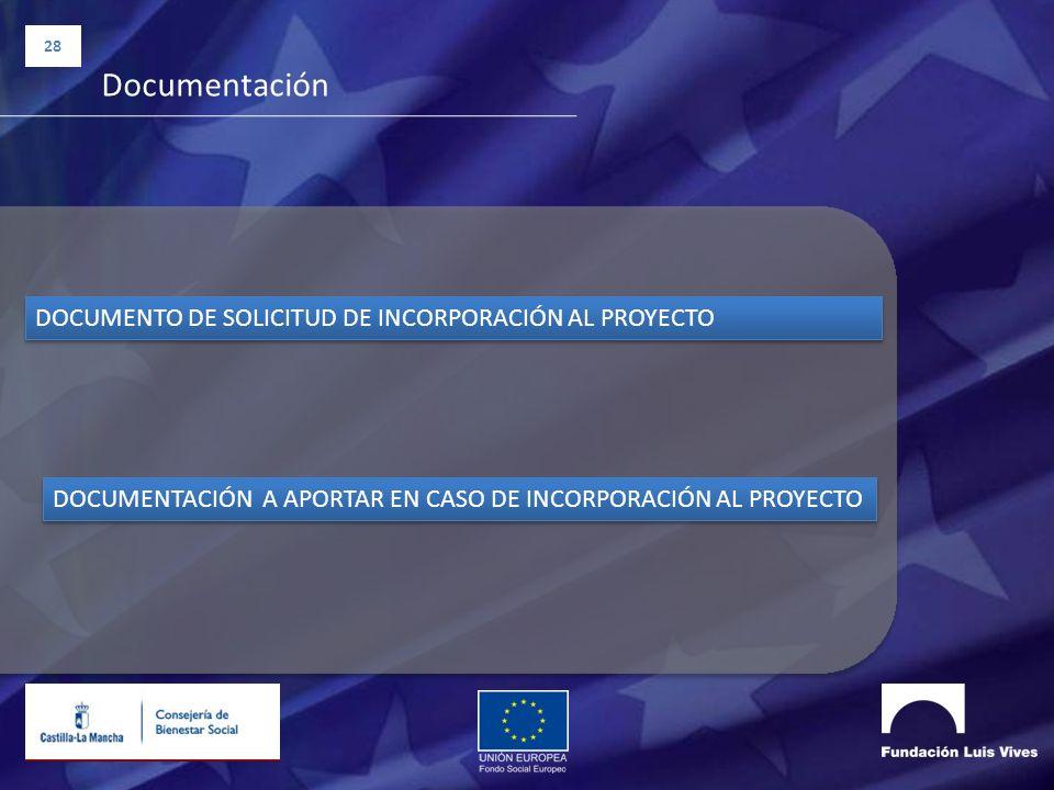 28 Documentación DOCUMENTO DE SOLICITUD DE INCORPORACIÓN AL PROYECTO DOCUMENTACIÓN A APORTAR EN CASO DE INCORPORACIÓN AL PROYECTO