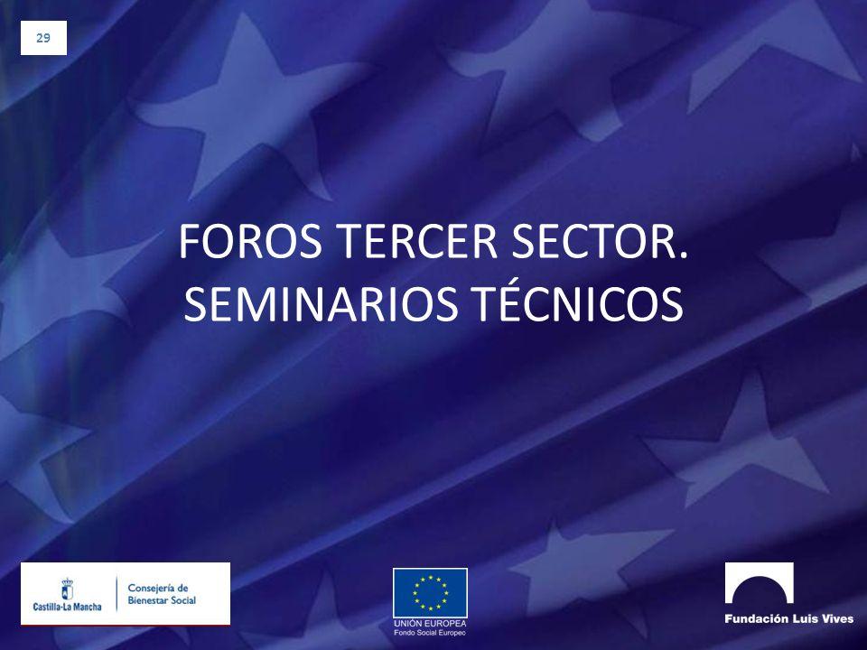 29 FOROS TERCER SECTOR. SEMINARIOS TÉCNICOS