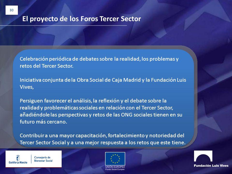30 El proyecto de los Foros Tercer Sector Celebración periódica de debates sobre la realidad, los problemas y retos del Tercer Sector. Iniciativa conj