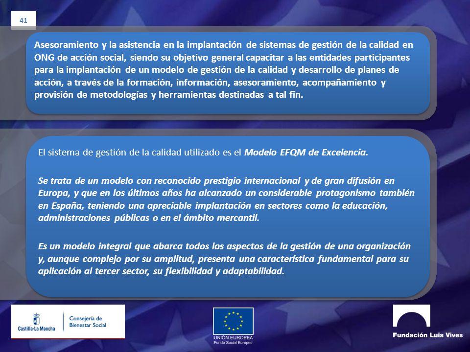 41 Asesoramiento y la asistencia en la implantación de sistemas de gestión de la calidad en ONG de acción social, siendo su objetivo general capacitar