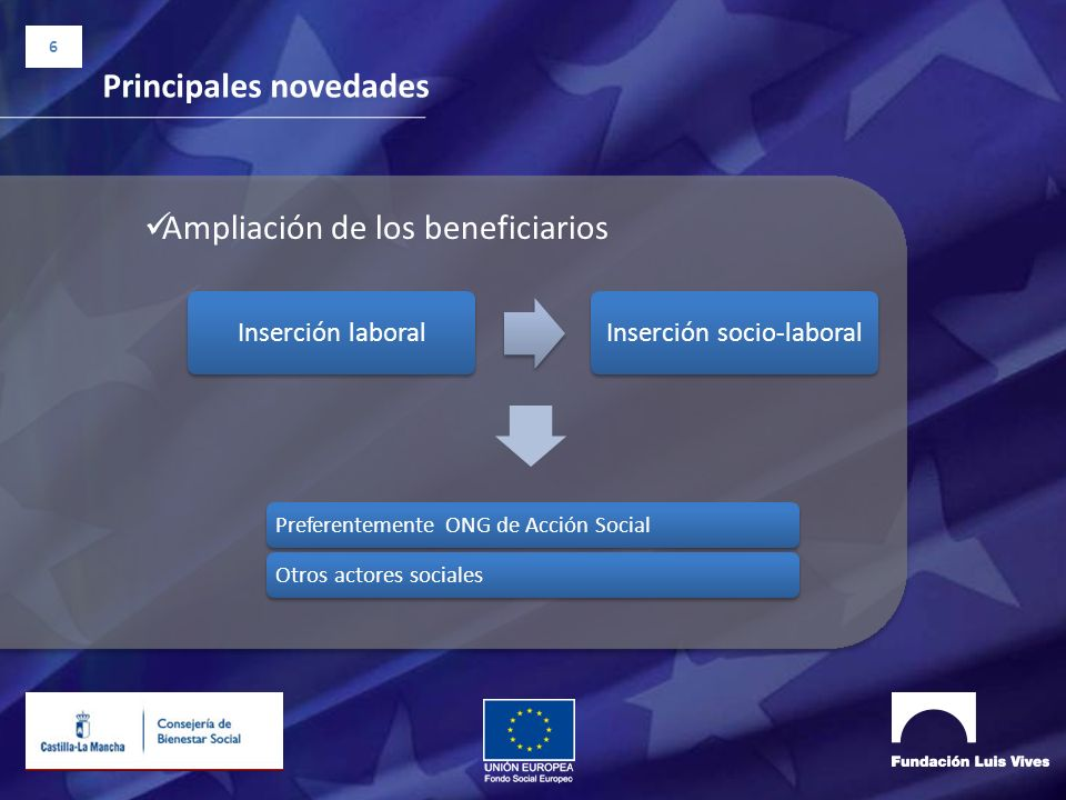 6 Principales novedades Ampliación de los beneficiarios Inserción laboralInserción socio-laboral Preferentemente ONG de Acción SocialOtros actores soc