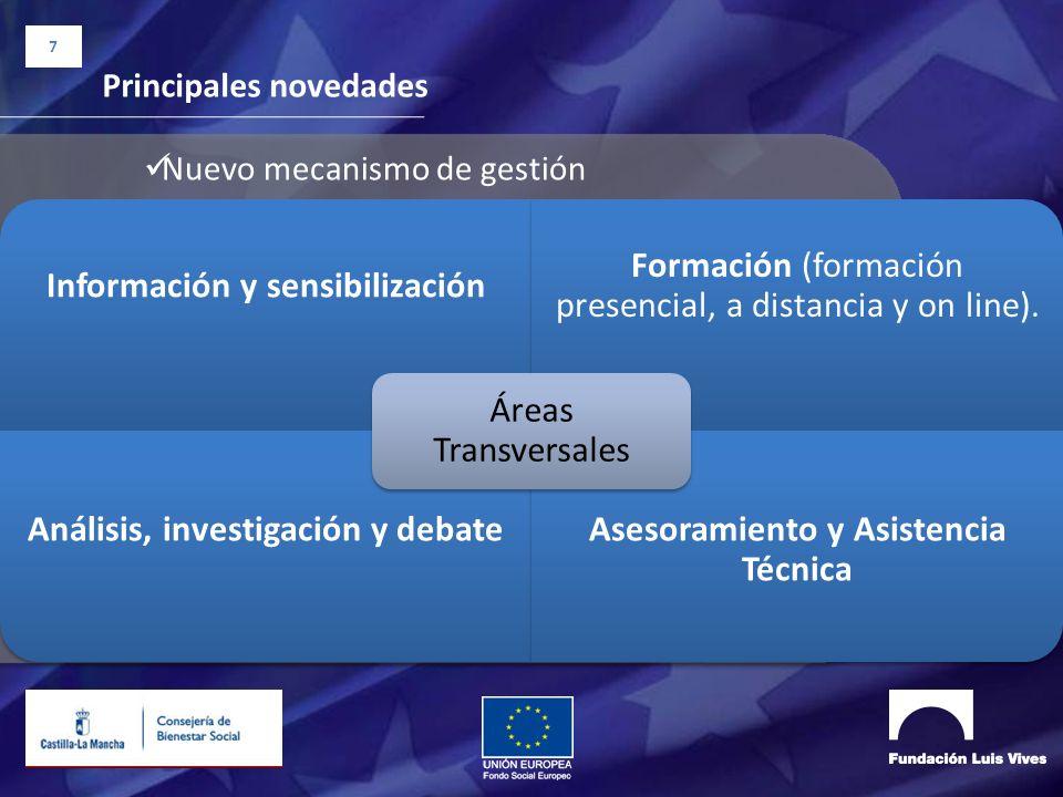 7 Principales novedades Nuevo mecanismo de gestión Información y sensibilización Formación (formación presencial, a distancia y on line). Análisis, in