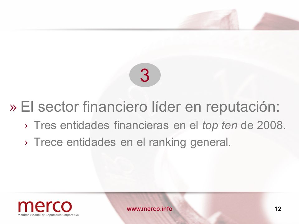 » El sector financiero líder en reputación: Tres entidades financieras en el top ten de 2008.