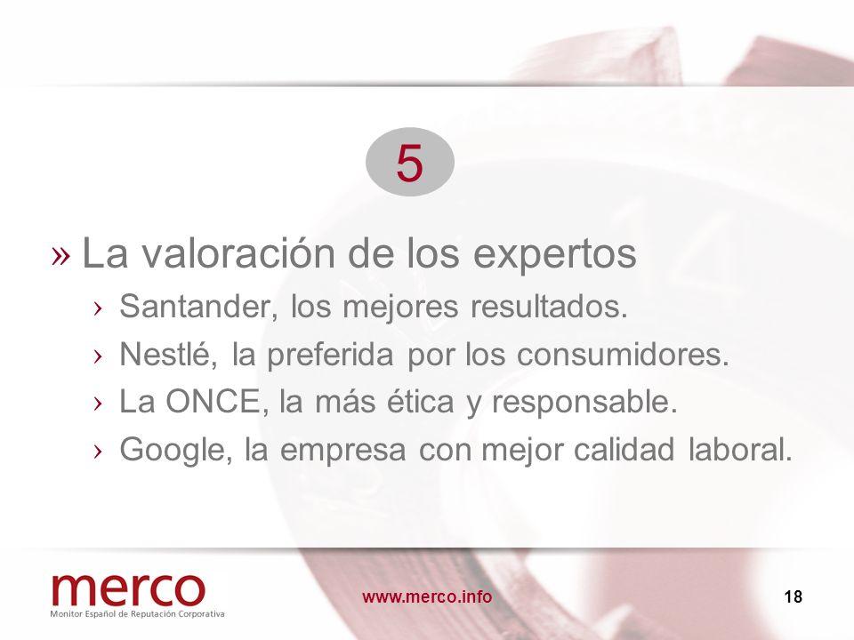 www.merco.info18 » La valoración de los expertos Santander, los mejores resultados. Nestlé, la preferida por los consumidores. La ONCE, la más ética y