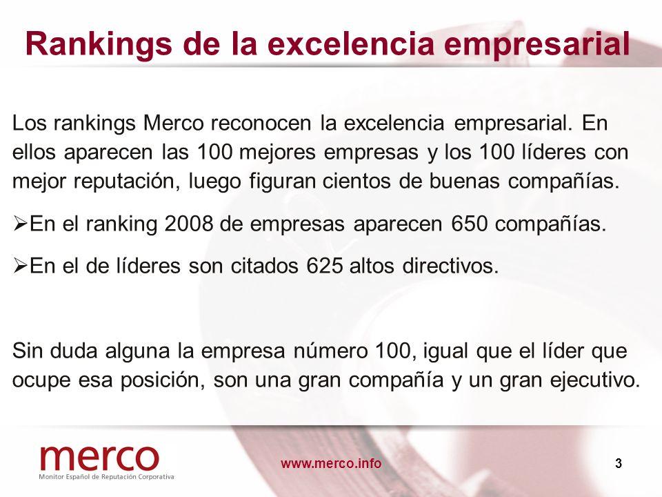 www.merco.info3 Rankings de la excelencia empresarial Los rankings Merco reconocen la excelencia empresarial. En ellos aparecen las 100 mejores empres