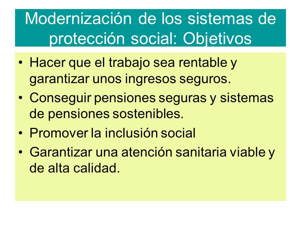 Modernización de los sistemas de protección social: Objetivos Hacer que el trabajo sea rentable y garantizar unos ingresos seguros.
