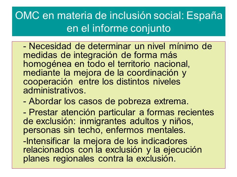 OMC en materia de inclusión social: España en el informe conjunto - Necesidad de determinar un nivel mínimo de medidas de integración de forma más homogénea en todo el territorio nacional, mediante la mejora de la coordinación y cooperación entre los distintos niveles administrativos.