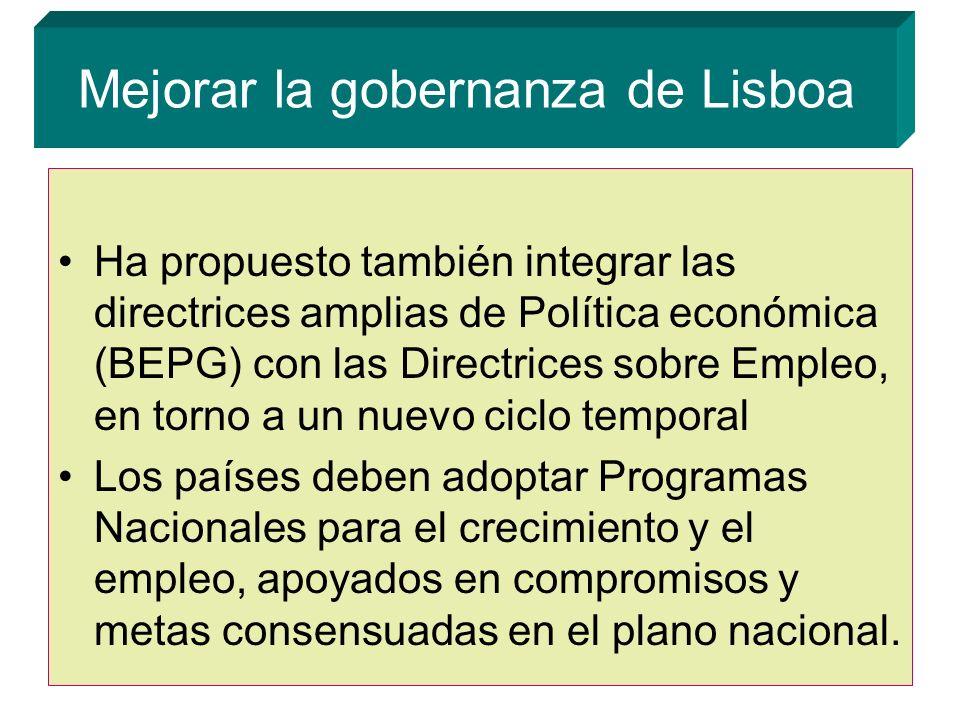 Mejorar la gobernanza de Lisboa Ha propuesto también integrar las directrices amplias de Política económica (BEPG) con las Directrices sobre Empleo, en torno a un nuevo ciclo temporal Los países deben adoptar Programas Nacionales para el crecimiento y el empleo, apoyados en compromisos y metas consensuadas en el plano nacional.