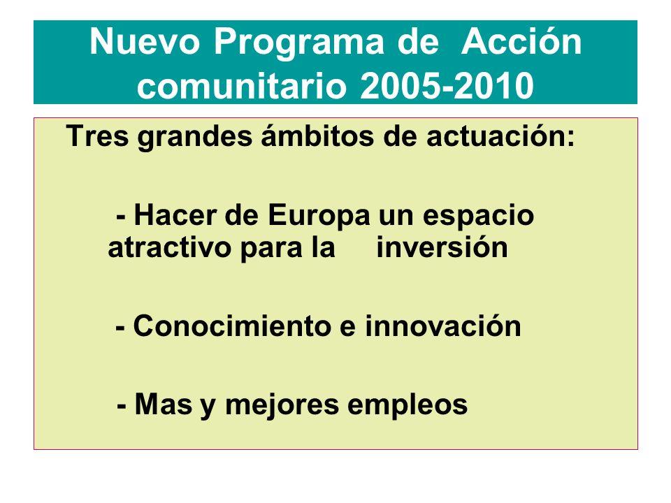 Nuevo Programa de Acción comunitario 2005-2010 Tres grandes ámbitos de actuación: - Hacer de Europa un espacio atractivo para la inversión - Conocimiento e innovación - Mas y mejores empleos