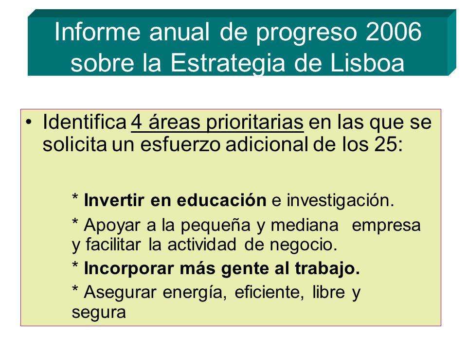 Informe anual de progreso 2006 sobre la Estrategia de Lisboa Identifica 4 áreas prioritarias en las que se solicita un esfuerzo adicional de los 25: * Invertir en educación e investigación.