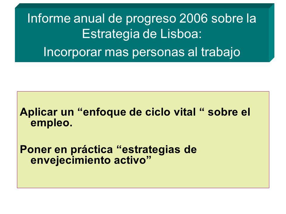 Informe anual de progreso 2006 sobre la Estrategia de Lisboa: Incorporar mas personas al trabajo Aplicar un enfoque de ciclo vital sobre el empleo.