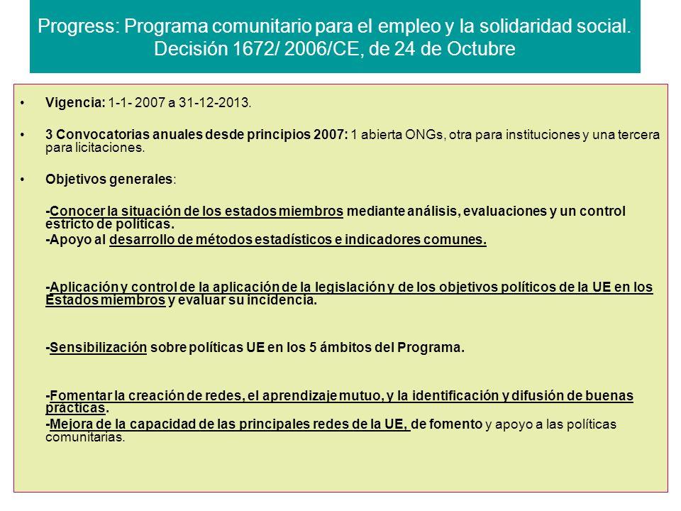 Progress: Programa comunitario para el empleo y la solidaridad social.