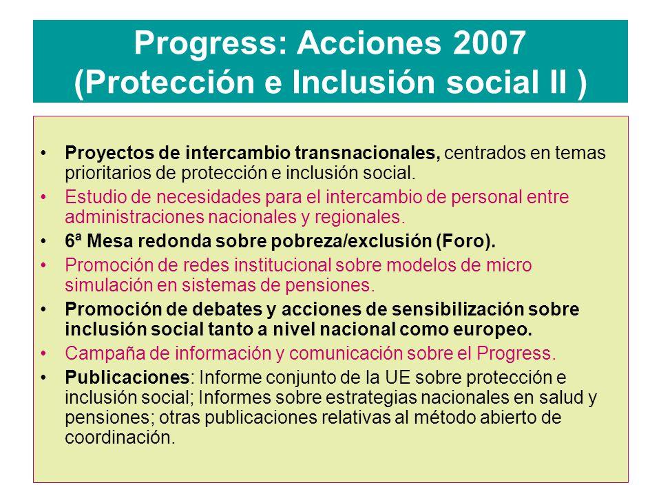 Progress: Acciones 2007 (Protección e Inclusión social II ) Proyectos de intercambio transnacionales, centrados en temas prioritarios de protección e inclusión social.