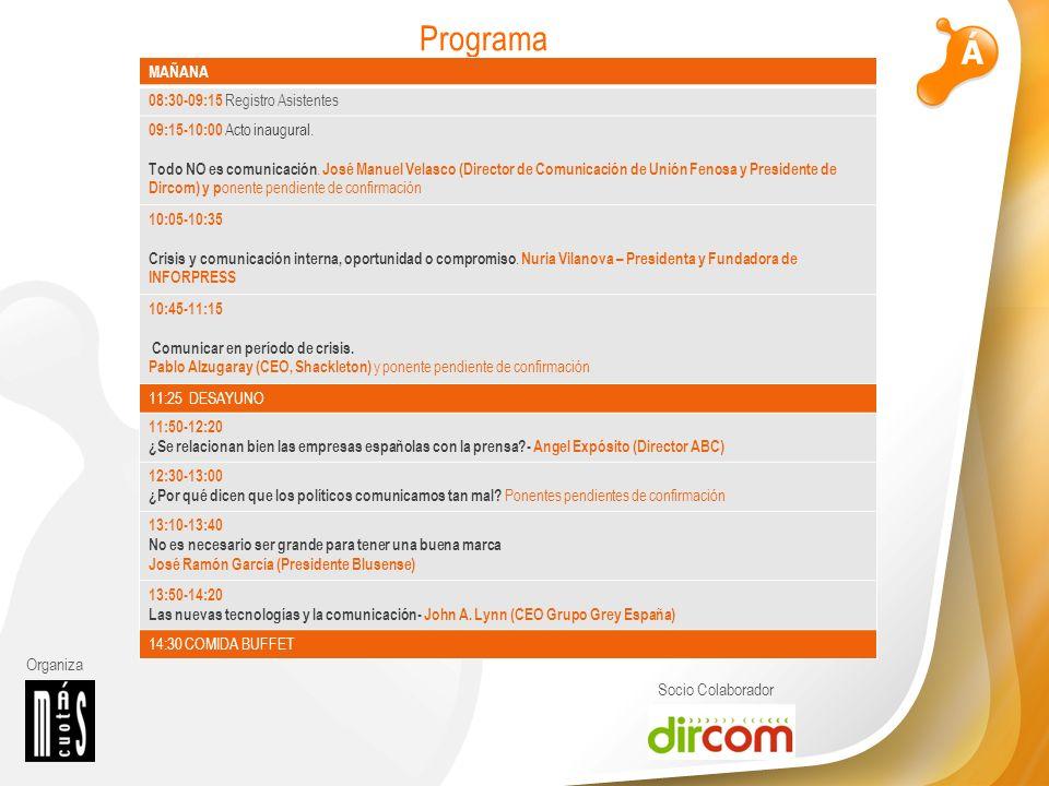 Organiza Socio Colaborador Programa MAÑANA 08:30-09:15 Registro Asistentes 09:15-10:00 Acto inaugural.