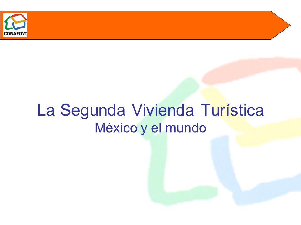 Segundas viviendas en el mercado nacional La Encuesta Urbana de Turismo Doméstico en Hogares, 2001* muestra que solo el 39.4% de las familias mexicanas tienen capacidad de viajar y que de ellas, un 8.46% lo hacen a una segunda residencia * Elaborada por Consulta Motofsky Aplicando estos parámetros a las estimaciones de población urbana en México y a las proyecciones de la misma a 2005 se obtiene que: Estamos frente a un mercado del orden de 600 mil segundas residencias