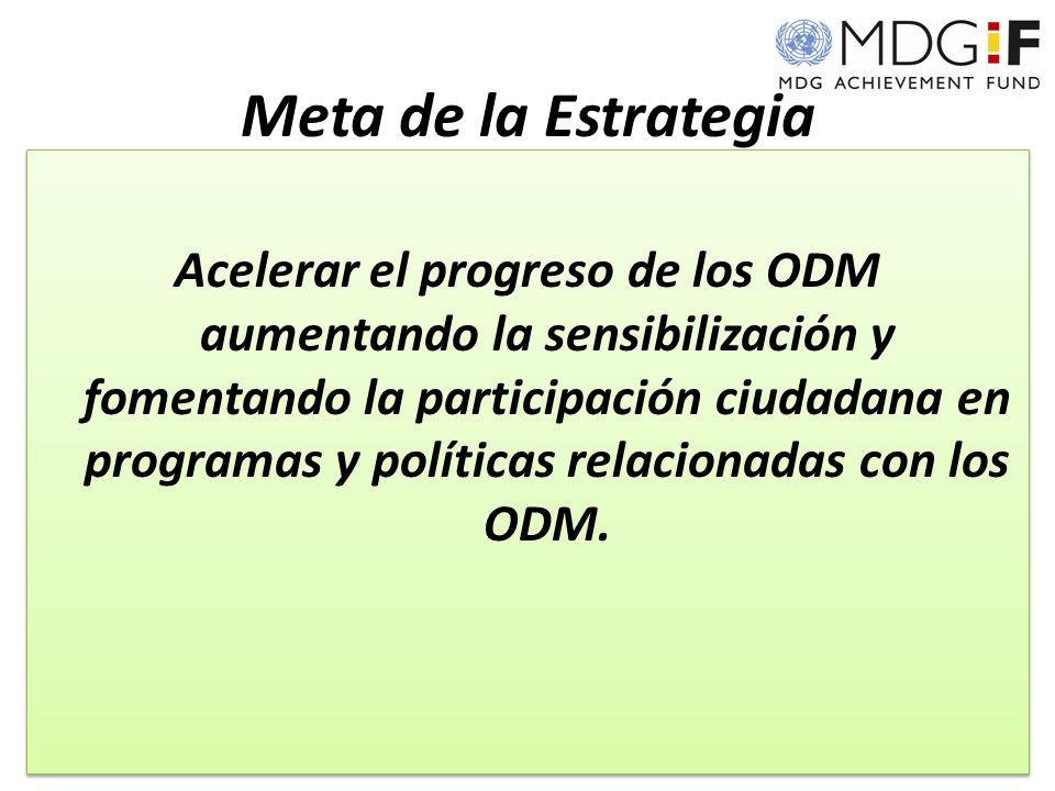 Meta de la Estrategia Acelerar el progreso de los ODM aumentando la sensibilización y fomentando la participación ciudadana en programas y políticas relacionadas con los ODM.