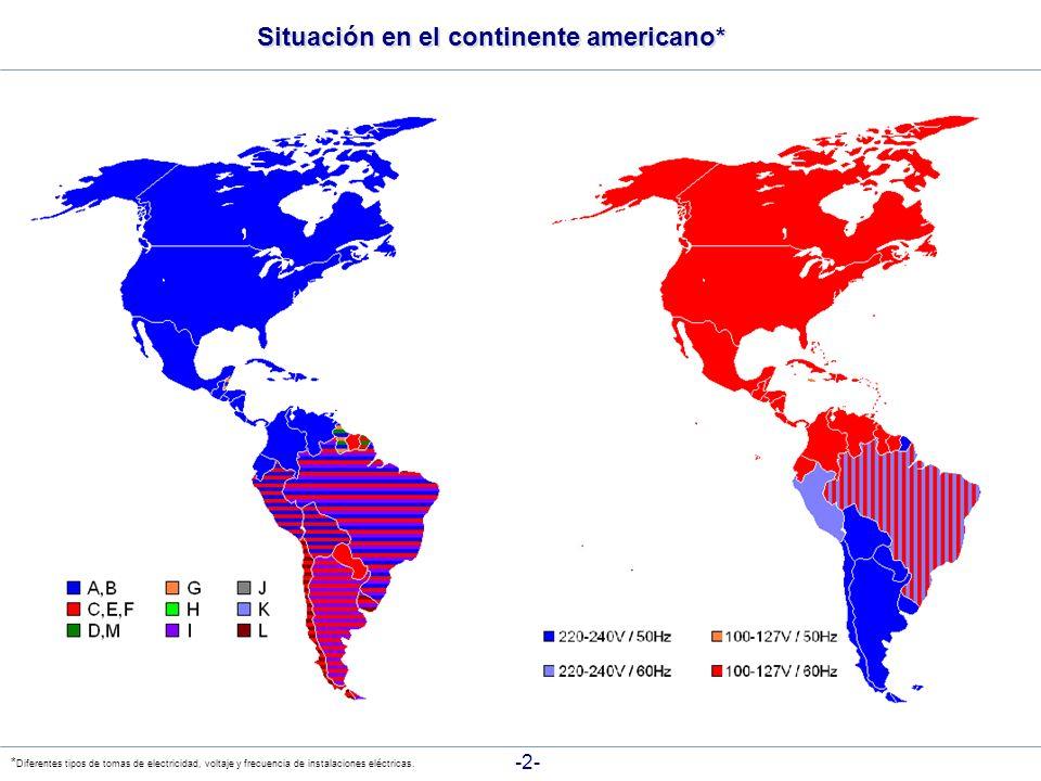 Situación en el continente americano* -2- * Diferentes tipos de tomas de electricidad, voltaje y frecuencia de instalaciones eléctricas.