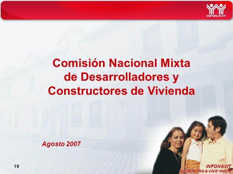 INFONAVIT tu derecho a vivir mejor tu derecho a vivir mejor 19 Comisión Nacional Mixta de Desarrolladores y Constructores de Vivienda Agosto 2007